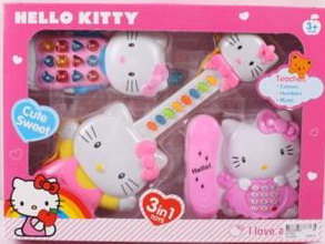 "Гитара KT1203 Hello Kitty"" с телефонами 3в1 кор.36*26*6"